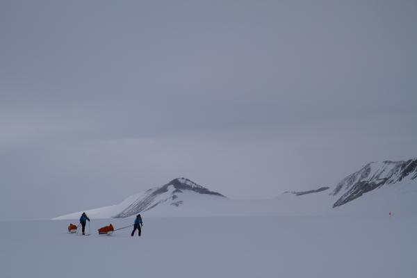 Parker Liautaud and Doug Stoup during their unsupported trek in Antarctica. A film crew followed them and live-streamed some of the journey.