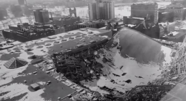 The collapse of the Hartford Civic Center roof in January 1978.