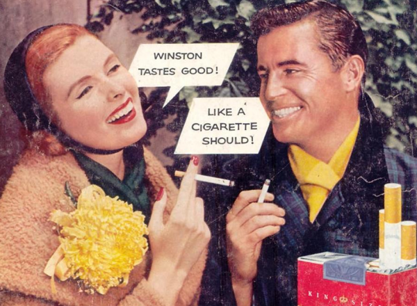 """Winston cigarettes advertised on the back of <em>Woman's Day</em> magazine in 1955 with the slogan, """"Winston tastes good! Like a cigarette should!"""""""