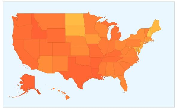 Screenshot of flu trend map using data through January 7, 2014.