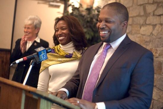 Gary Holder-Winfield thanked supporters at the The Greek Olive in New Haven alongside his wife, Natalie Holder-Winfield, and Lt. Gov. Nancy Wyman, far left.