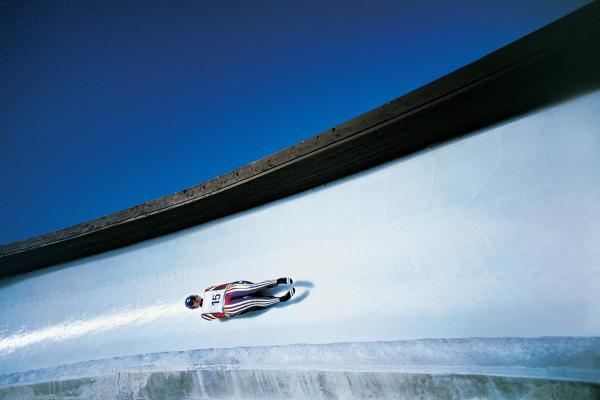 The luge track at Sochi will be on display at the Ridgefield Playhouse on Saturday.