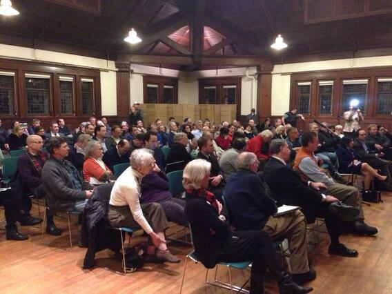 Over 100 people attended a Metro-North commuter speakout in Fairfield on Tuesday night.