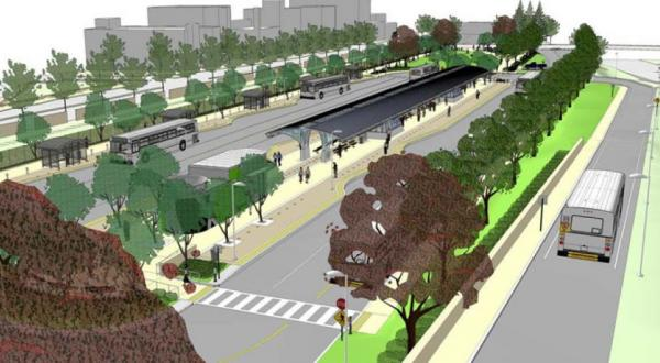 A rendering of the downtown New Britain CTfastrak station.
