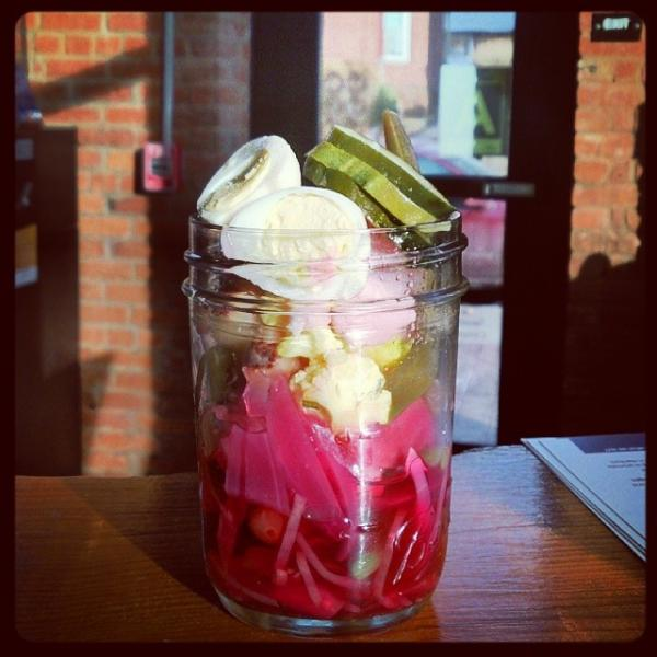 A jar of pickles from Firebox restaurant in Hartford, CT.