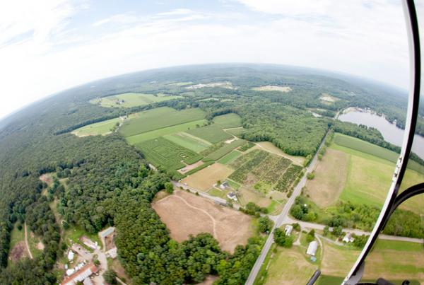 An aerial view of Buttonwood Farm in Grisworld, Conn. According to a USDA report, there are about 436,000 acres of farmland in the state.