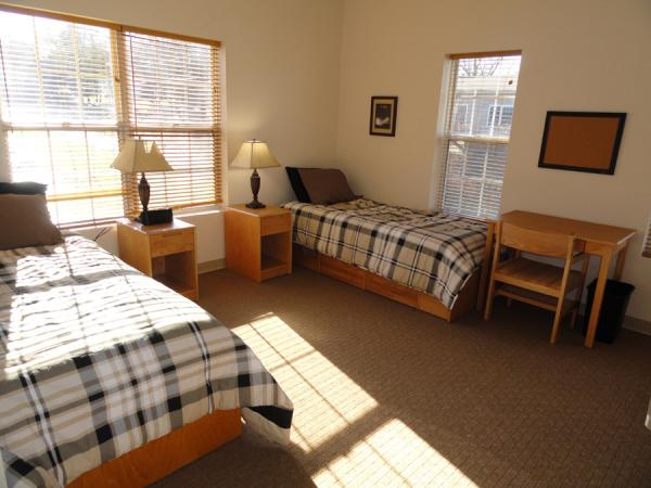 A semi-private bedroom at the Rushford at Stonegate facility.