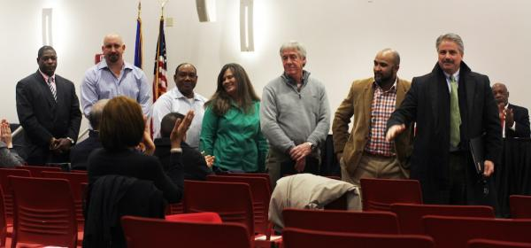 """Participants in the City of Hartford's first mentor-protégé program, from left: Ian Howell and his mentor, Nick Bonadies; Joslyn F. Chance and his mentors, Cathy Jo and Barry Cousineau; Shane Kelly and his mentor, Arthur """"Chip"""" Martin."""