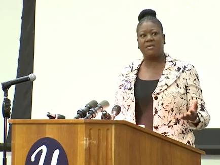 Sybrina Fulton, mother of Trayvon Martin, speaking at UConn on Friday.
