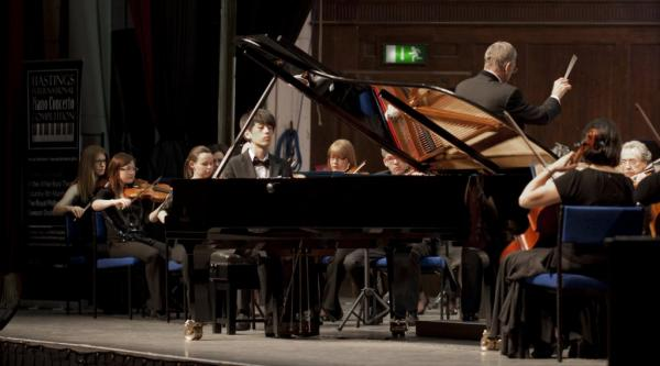 South Kent School's Taek Gi Lee competing in the 10th Annual Hastings International Piano Concerto Competition.