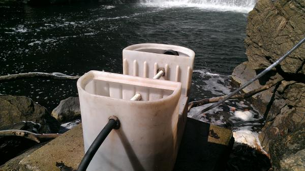 Cassone's Byram River trap includes a collection bin, pictured above, that's outfitted with an electric-powered water pump that circulates and disturbs ambient water to attract eels.