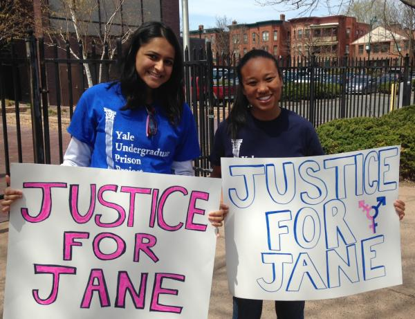 Representatives of the Yale Undergraduate Prison Project were at a rally Friday in Hartford in support of an imprisoned transgender teen.