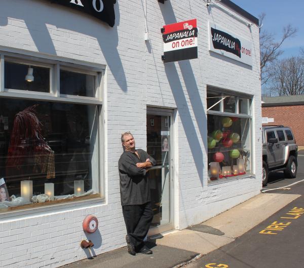 Dan Blow outside the Japanalia Eiko storefront on Hartford's Whitney Street.