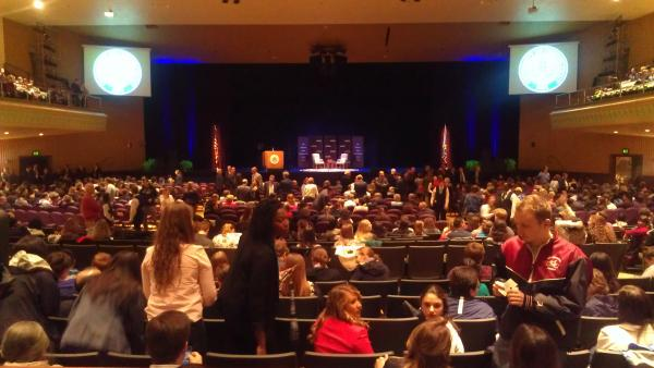 Two chairs awaited Hillary Clinton and UConn President Susan Herbst at the Jorgensen Center for the Performing Arts.