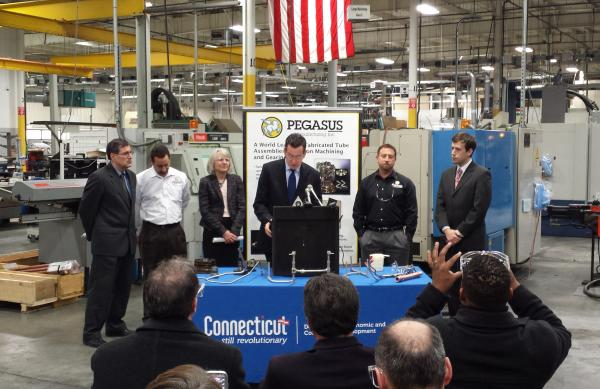 Gov. Dannel Malloy announced legislation in January, at Pegasus Manufacturing in Middletown, to create a new Advanced Manufacturing Fund.