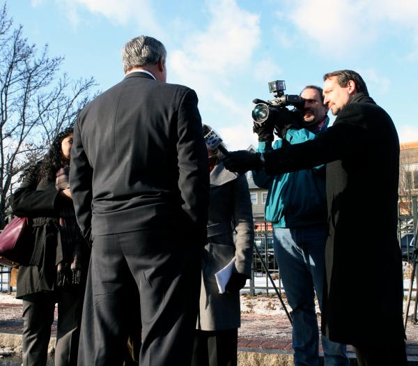 Former Gov. John Rowland in Hartford in 2009, talking with media.