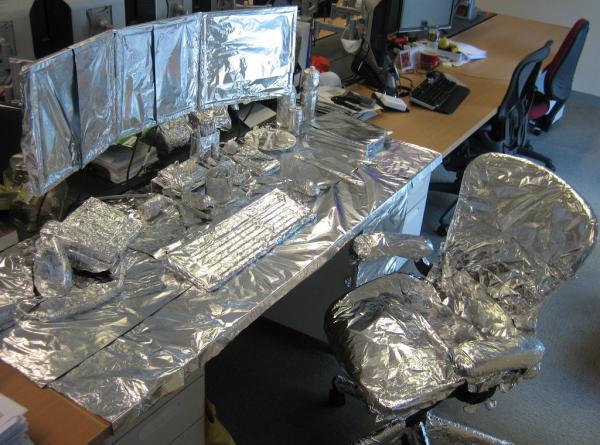 A foil-covered desk.