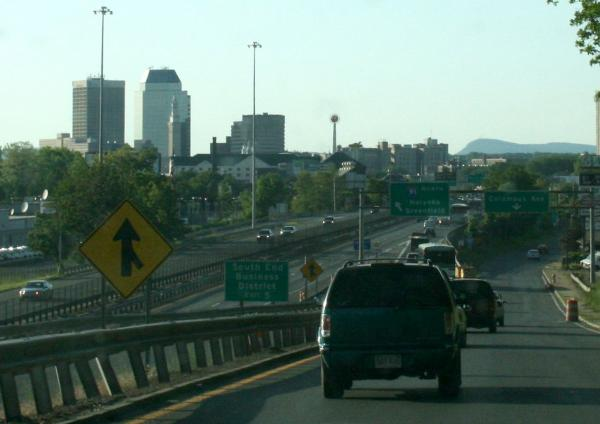 I-91 through Springfield from the south.