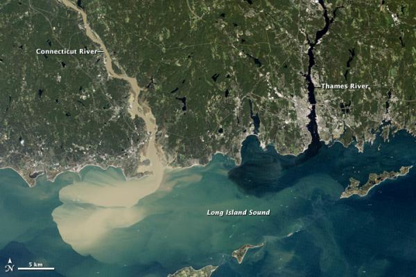An aerial image shows the amount of sediment washed into Long Island Sound after Hurricane Irene.