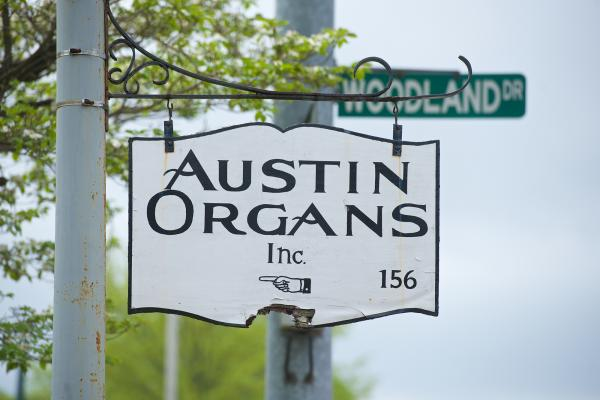 The Austin Organs sign at Woodland Street and Woodland Drive in Hartford.