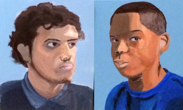At left, a completed portrait of Yan Carlos Camacho, painted by T'Zaih Hanks. At right, a portrait of student T'Zaih Hanks painted by student Yan Carlos Camacho. They're both eighth graders.