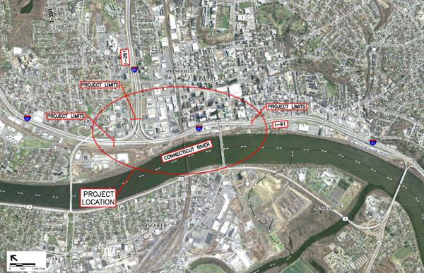 A map showing plans to replace the I-91 viaduct through Springfield.