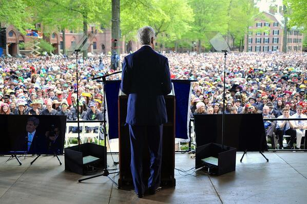 Secretary of State John Kerry delivering a commencement speech at Yale University.