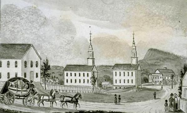 """Lamentation Mountain, as seen in """"Southern view of the churches in Meriden,"""" a drawing created in 1836."""