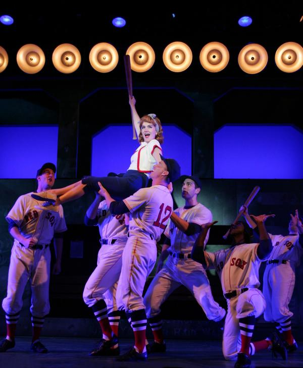 "Lora Lee Gayer and cast in ""Damn Yankees."""