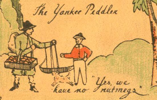 The Yankee Peddler, a detail in a pictorial map of Connecticut created by Amy Drevenstedt in 1926, commissioned by the Children's Bookshop of New Haven.