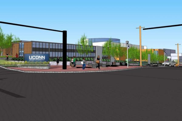 A rendering of the proposed new UConn gateway to the Storrs campus.