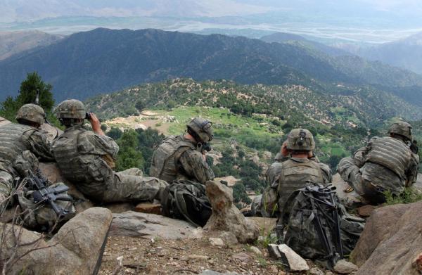 U.S. soldiers overlook the Chowkay Valley in Kunar Province, Afghanistan.