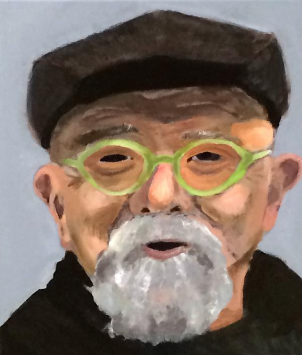 A painting of Chuck Close by Stella Alexander, 14.