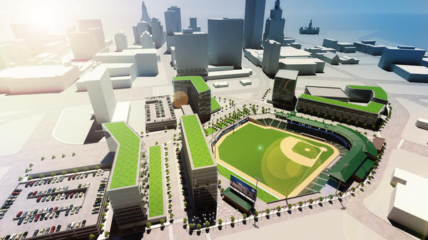 A rendering of a proposed stadium in Hartford, just north of I-84.