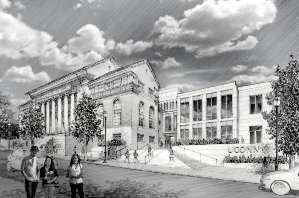 A rendering of the planned UConn Hartford campus from Prospect Street.