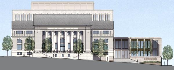A plan for the UConn Hartford campus from Prospect Street, showing the remodeled former Hartford Times building.