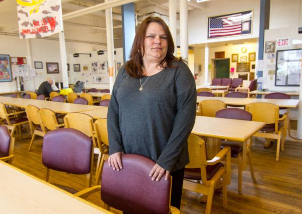 Cheryl Eberg helps veterans connect with services at the VA Errera Community Care Center, West Haven.