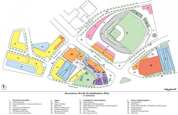 A rendering from CV Properties, one of the developers interested in building a stadium.