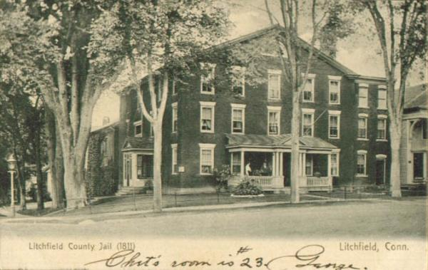 A postcard depicts the Litchfield County jail in 1907.