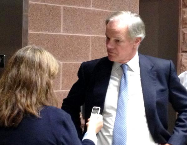 Foley answers reporters' questions after the debate.