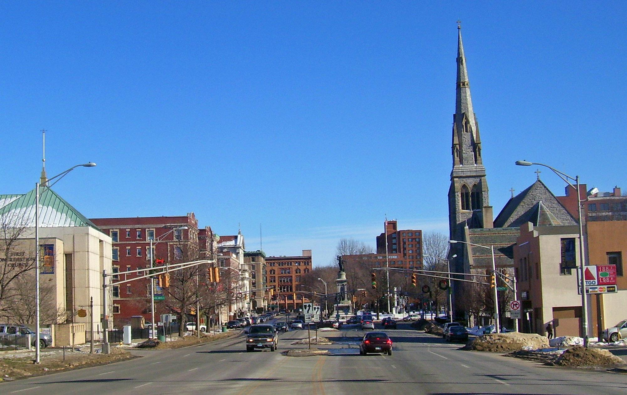 Downtown Waterbury, Connecticut.