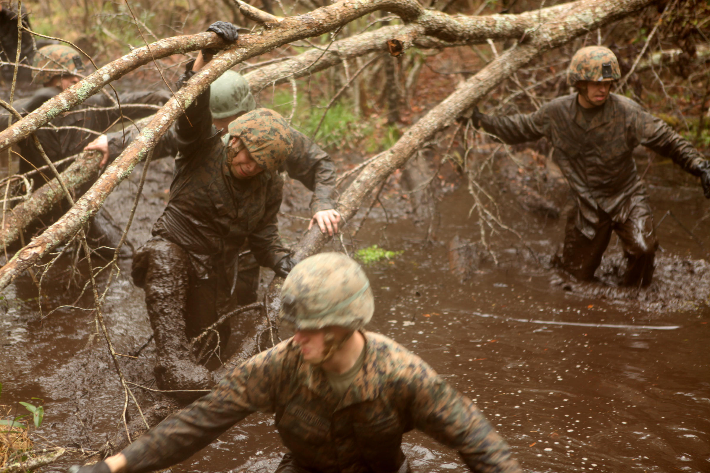 Marines with 5th Battalion, 10th Marine Regiment, 2nd Marine Division,  climb over tree