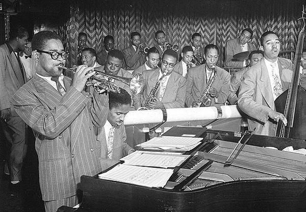 Dizzy Gillespie, John Lewis, Cecil Payne, Miles Davis, and Ray Brown performing