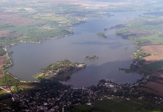 An aerial view of Buckeye Lake.