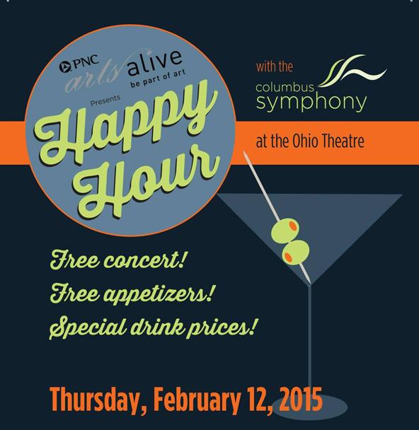 Columbus Symphony happy hour graphic