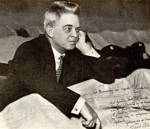 Danish composer Carl Nielsen listening to the rehersal of Saul og David in Gothenburg in 1928