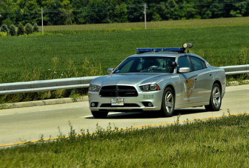 Ohio State Highway Patrol cruiser driving