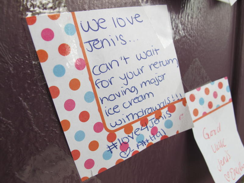 """We love Jeni's...Can't wait for your return, having major ice cream withdrawals!"""
