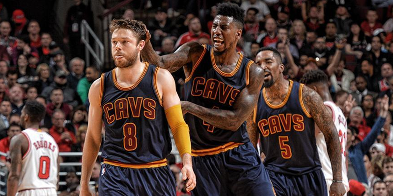 Cleveland Cavs players Matthew Dellavedova, Iman Shumpert and J.R. Smith