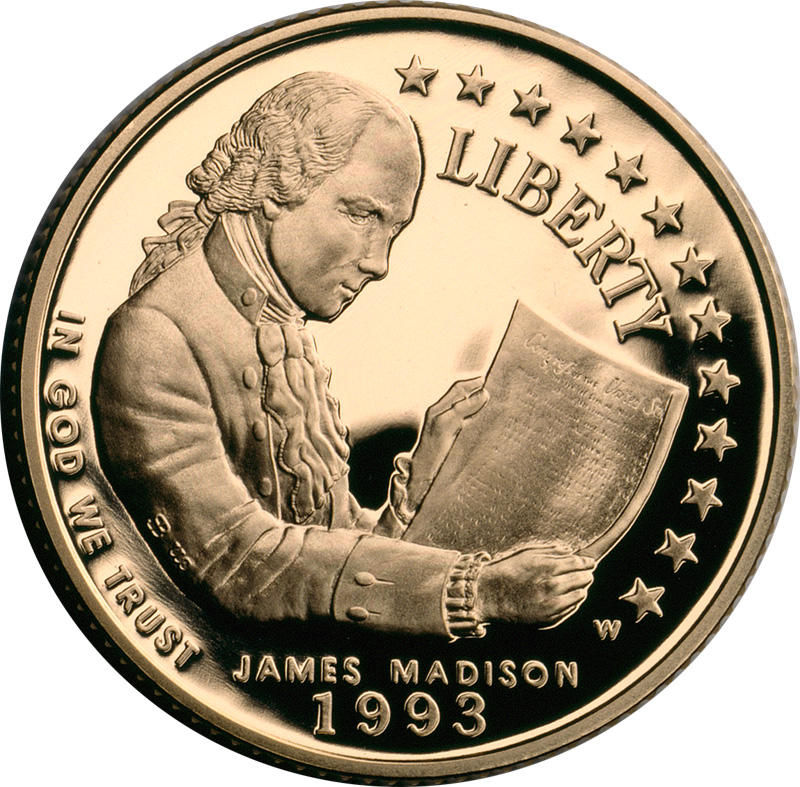 James Madison holds the Bill of Rights in a $5 commemorative gold coin